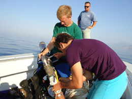 photo of ECU students participating in dive surveys for Albanian 2012 Field Season